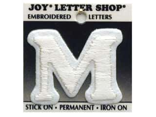 "Iron-On Letter ""M"" Embroidered 1 1/2 in. White"