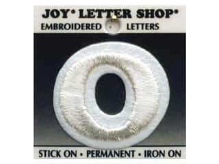 "Wood Sports: Joy Lettershop Iron-On Letter ""O"" Embroidered 1 1/2 in. White"