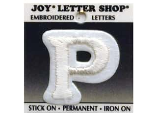 "Iron-On Letter ""P"" Embroidered 1 1/2 in. White"
