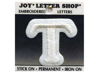 "Glass Sports: Joy Lettershop Iron-On Character ""T"" Embroidered 1 1/2 in. White"