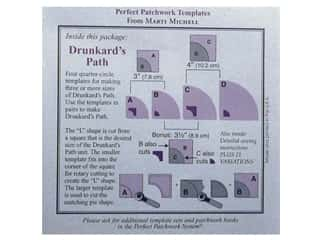 Michell Marketing Quilt Books: Marti Michell Template Set Perfect Patchwork The Drunkard's Path