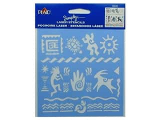 "Summer Camp: Plaid Simply Laser Stencil 5""x 5"" Primitive Icons (3 packages)"
