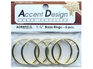 "Brass Rings Packaged 1.5"" 5 pc (3 packages)"