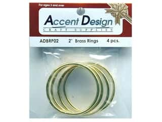 "Accent Designs Brass Rings: Brass Rings Packaged 2"" 4 pc (3 packages)"