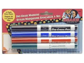 Erasers Black: The Board Dudes Dry Erase Marker Fine Point 4 pc. Blue/Black/Green/Red