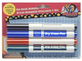 Erasers Broad Tip: The Board Dudes Dry Erase Marker Broad Point 4 pc. Blue/Black/Green/Red