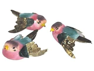 Floral & Garden Floral & Garden Accents Medium Bird: Accent Design Artificial Bird 2 1/8 in. Bunting Blue/Pink/Brown 1 pc.