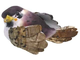 Family Floral & Garden Accents Medium Bird: Accent Design Artificial Bird 2 1/2 in. Brambling Wh/Plum/Brown 1 pc.