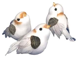 Family Floral & Garden Accents Medium Bird: Accent Design Artificial Bird 3 in. White/Peach/Grey Feather 1 pc.