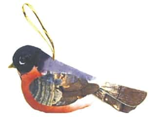 Family Floral & Garden Accents Medium Bird: Accent Design Artificial Bird 3 1/4 in. Robin Red/Blue/Brown/Bk 1 pc.