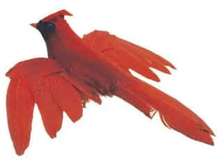 Accent Design Artificial Bird 4 in. Cardinal/Black Feather 1 pc.