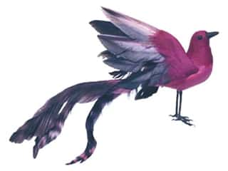 Floral & Garden: Accent Design Artificial Bird 8 1/2 in. Tropical Fuchsia/Black Feather 1 pc.