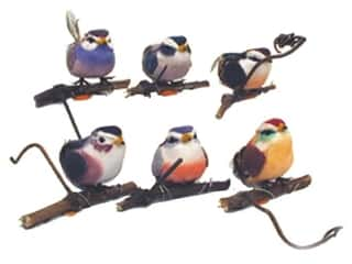 Floral & Garden: Accent Design Artificial Bird 3 in. Lark with Perch Asst Feather 1 pc.