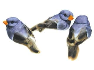 Floral & Garden Blue: Accent Design Artificial Bird 1 in. Blue/Brown Feather 3 pc.