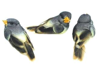 Accent Design - Garden Accents: Accent Design Artificial Bird 1 1/4 in. Lt Blue/Cream/Brown Feather 3 pc.