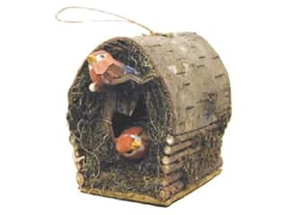 "Floral & Garden Bird Cabin 3 1/4"" with 2 Cardinals"