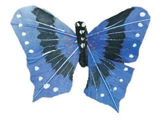 "Floral & Garden Butterfly 2 1/2"" Blue/Black/White"