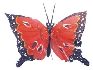 Floral &amp; Garden Butterfly 3&quot; Red/Brown/White/Black
