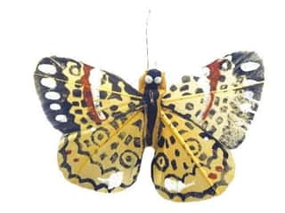 Clearance Floral & Garden Accents Butterflies: Accent Design Artificial Butterfly 2 3/4 in. Yellow/Black/White Feather  1 pc.