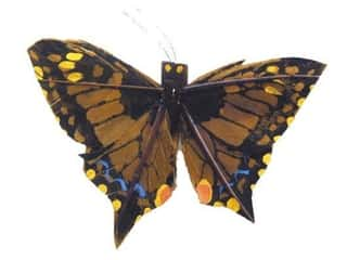 Outdoor, Patio, Garden Floral & Garden Accents Butterfly: Accent Design Artificial Butterfly 2 3/4 in Brown/Yellow Feather 1 pc.