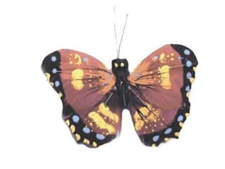 Outdoor, Patio, Garden Floral & Garden Accents Butterfly: Accent Design Artificial Butterfly 2 1/2 in. Burgundy/Yellow/Black 1 pc.