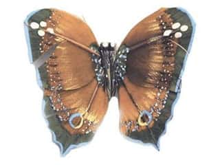 Clearance Floral & Garden Accents Butterflies: Accent Design Artificial Butterfly 3 in. Bk/Blue/Brown Feather 1 pc.