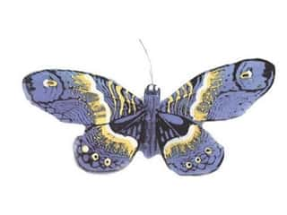 Clearance Floral & Garden Accents Butterflies: Accent Design Artificial Butterfly 5 1/2 in. Bk/Wh/Blue/Yellow 1 pc.