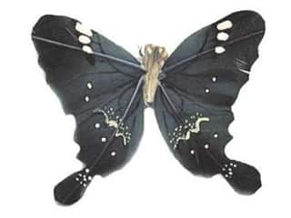 Clearance Floral & Garden Accents Butterflies: Accent Design Artificial Butterfly 3 in. Dk Green/White Feather 1 pc.
