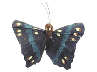Accent Design - Garden Accents Decorative Floral Butterflies: Accent Design Artificial Butterfly 2 3/4 in. Black/Green Feather 1 pc.