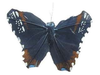 Accent Design - Garden Accents Decorative Floral Butterflies: Accent Design Artificial Butterfly 5 in. Black/Rust/Blue Feather 1 pc.