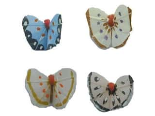 Accent Design Artificial Butterfly 1 in. Asst Blue/White/Orange 4 pc.