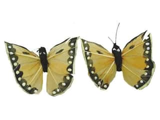 "Clearance Floral & Garden Accents Butterflies: Floral & Garden Butterfly 2 1/2"" 2pc Yellow/Black"