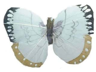 Spring Floral & Garden: Accent Design Artificial Butterfly 3 in. Lt Blue/Black/Tan/White Feather 1 pc.