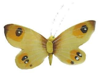 Clearance Floral & Garden Accents Butterflies: Accent Design Artificial Butterfly 2 3/4 in. Yellow/Brown/White 1 pc.