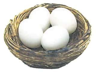 Floral &amp; Garden Egg 1&quot; White 4 pc (3 sets)