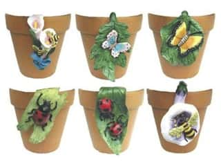 "Accent Design Floral and Garden Accents Garden Friend Resin Pot Hangers 3 1/4"" 6 designs Assorted Colors"