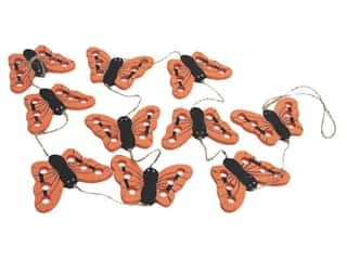 "Floral & Garden Garland 36"" Wood Butterfly Orange"