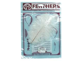 "Zucker Feather Ostrich Drab 5-9"" White 2 pc"