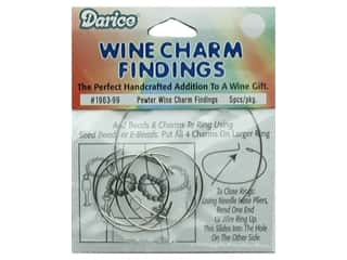 Darice Wine Charm Ring Findings Pewter 5pc