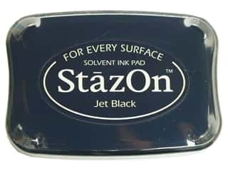 Stamps Black: Tsukineko StazOn Large Solvent Ink Stamp Pad Jet Black