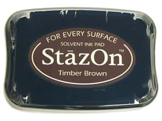 Stamping Ink Pads Brown: Tsukineko StazOn Large Solvent Ink Stamp Pad Timber Brown