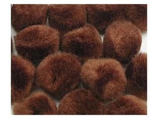 "1"" pom poms: Pom Pom by Accent Design 1 in. Brown 8pc. (3 packages)"