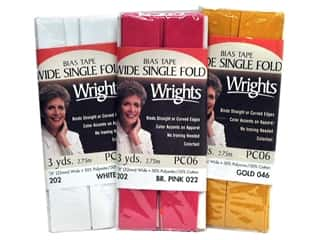 Home Decor Sale: Wrights Wide Single Fold Bias Tape 3 yd, SALE $1.39-$2.19.