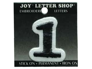 "Joy Black: Joy Lettershop Iron-On Number ""1"" Embroidered 1 1/2 in. Black"