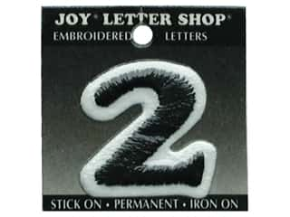 "Iron-On Number ""2"" Embroidered 1 1/2 in. Black"