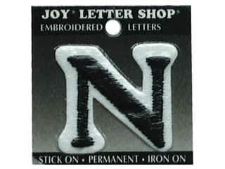 "Joy Black: Joy Lettershop Iron-On Letter ""N"" Embroidered 1 1/2 in. Black"