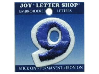 "Scrappin' Sports $8 - $9: Joy Lettershop Iron-On Number ""9"" Embroidered 1 1/2 in. Blue"