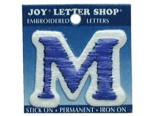 "Iron-On Letter ""M"" Embroidered 1 1/2 in. Blue"