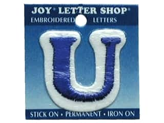 "Sports Joy Letter Shop Iron On Blue: Joy Lettershop Iron-On Letter ""U"" Embroidered 1 1/2 in. Blue"