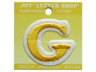 "Wood Sports: Joy Lettershop Iron-On Letter ""G"" Embroidered 1 1/2 in. Gold"